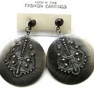 Vintage Earrings Retro Hoops, Gunmetal Hippie Style Large Dangle Earrings with Fleur de Lys