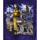 Queen Size Blanket - Indian w/ Wolves