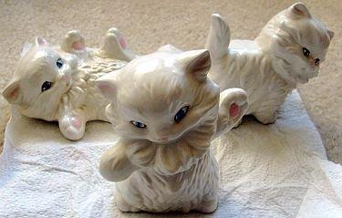 Lot 3 Ceramic Porcelain Kitten Figurines