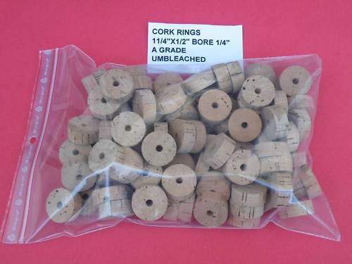 "50 CORK RINGS 1 1/4""X1/2""  BORE 1/4"" GRADE A+"