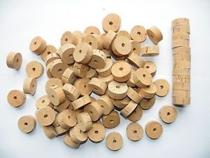 """105 CORK RINGS 1 1/4""""X1/2""""  BORE 1/4""""  FLOR BLACK STAINS - FREE SHIP!!!!"""