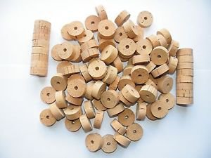 """100 CORK RINGS OVERSTOCK FLOR 11/4""""X1/2"""" BORE 1/4"""" - FREE SHIP"""