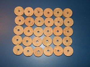 """30 CORK RINGS 1 1/4""""X1/2""""  BORE 1/4""""  FLOR BLACK STAINS - FREE SHIP!!!!"""