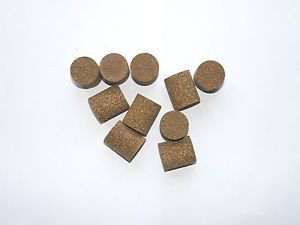 """10 RUBBERIZED CORK CYLINDERS 1 1/4""""X1 1/2"""" BLACK SOLID"""