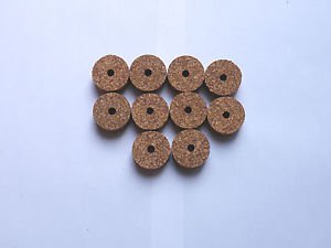 """10 RUBBERIZED CORK RINGS 1 1/4""""X1/2"""" WITH BORE 1/4""""  SPOTTED RED -NEW !!!!!!!"""""""