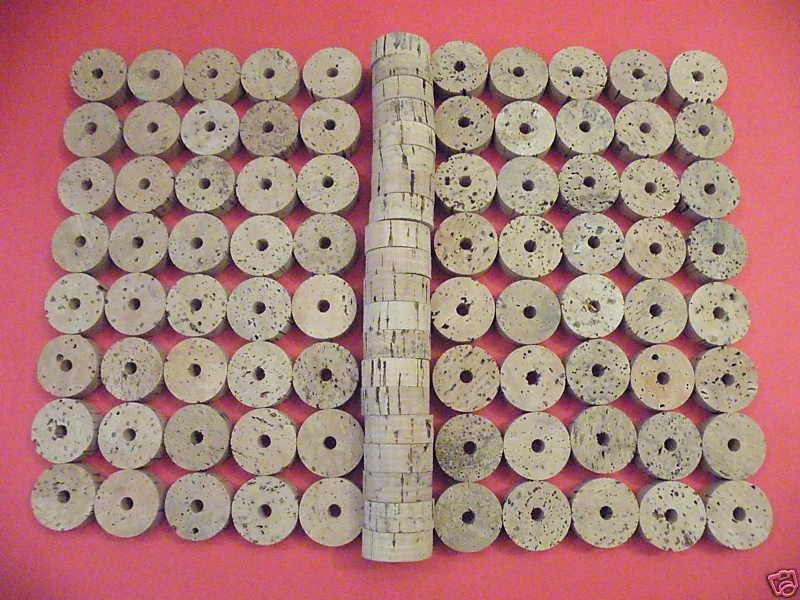 "100 CORK RINGS 1 1/2""X1/2""  BORE 1/4"" GRADE B - FREE SHIP"