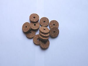 """10 RUBBERIZED CORK RINGS 11/4""""X1/4"""" BORE 1/4"""" SPOTTED RED -NEW !!!!!!!"""