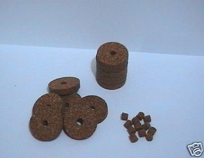 """12 RUBBERIZED CORK RINGS 11/4""""X1/4 BORE 1/4 RED+PLUGS"""