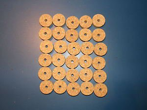 "30 AGGLOMERATED  CORK RINGS 11/4""X1/2"" LARGE GRAIN  BORE 1/4"""