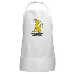 Cat Attitude Long White BBQ Apron