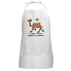 Camel BBQ Grilling Cooking White Long Apron