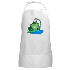 Frog BBQ Long White Cooking Grilling Apron