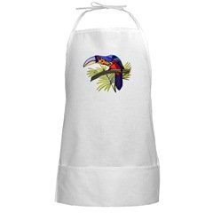 Tropical Bird White Long Grilling BBQ Apron