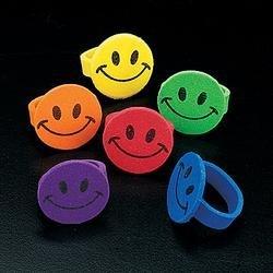 144 Foam Smile Face rings