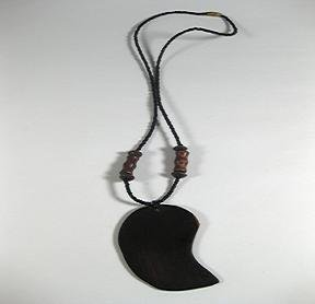"18"" Black Bead and wood beads necklace with wood pendant"