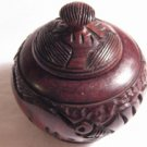 Hand carved wood bowl with lid.