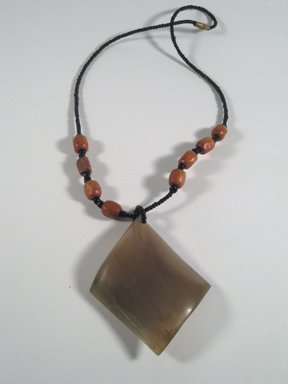 "16"" Hand carved wood bead necklace with pendant."