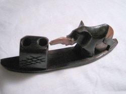 Handmade, hand carved elephant pen holder.