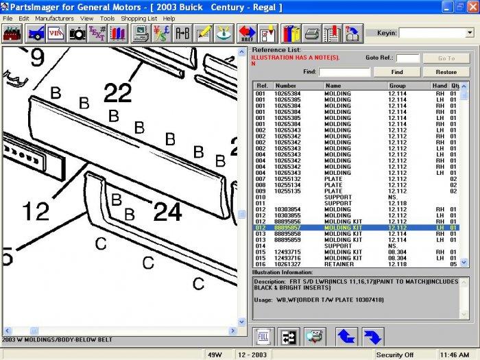 Buick Century-Regal 97-03 L/S Wide Door Lwr Front Mldg   12533589   88895857