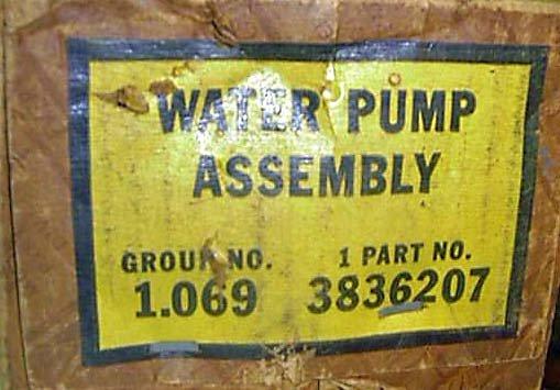 53-55 Chevrolet GMC 261 Truck Water Pump 3836207  3774212  NOS GM