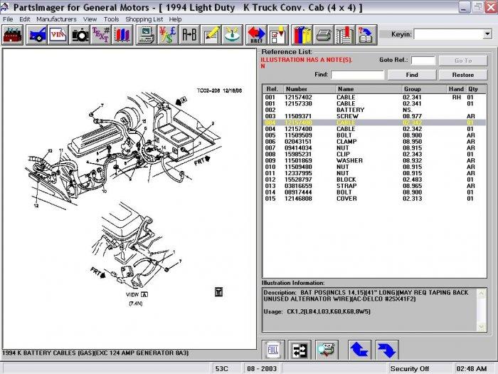 12157400 12111553 Positive Battery Cable 88-94 C,K, Truck GMC Chevrolet