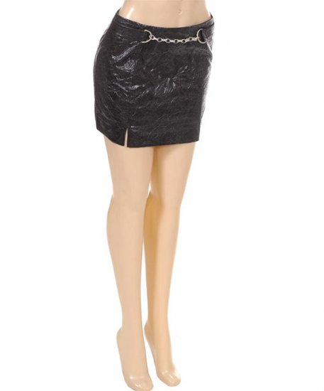 Black Vinyl Fetish Chain Club Style Skirt