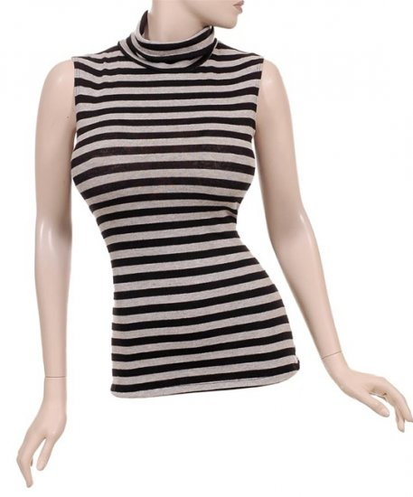 Black and Grey Striped Sleeveless Sweater