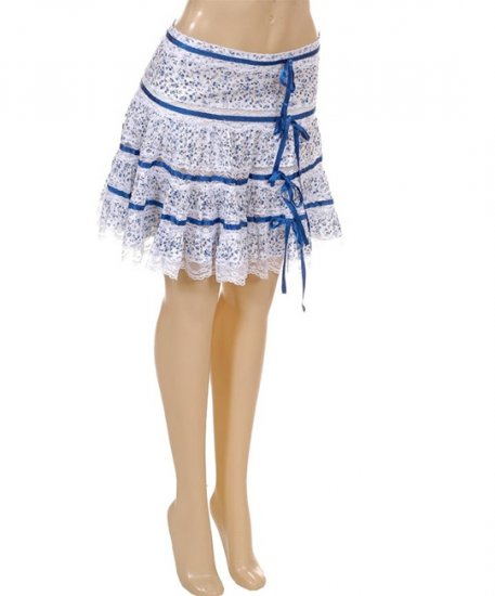 White and Blue Ribbon Sweet Lolita Floral Print Lace Skirt