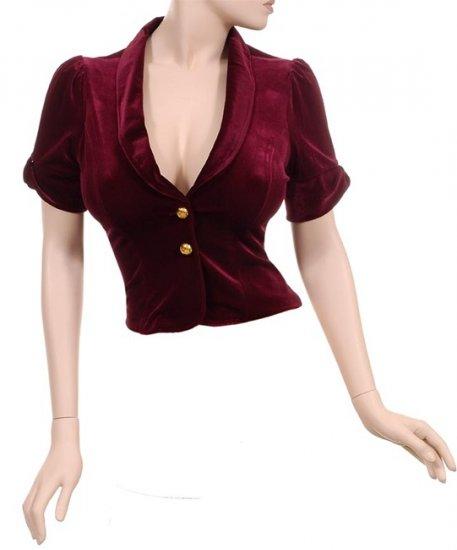 Velvety Blood Steampunk Anique Old Fashioned Elegant Velour Jacket