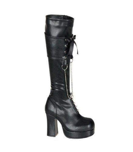 Gothika Black D-Ring Chain Knee Boot