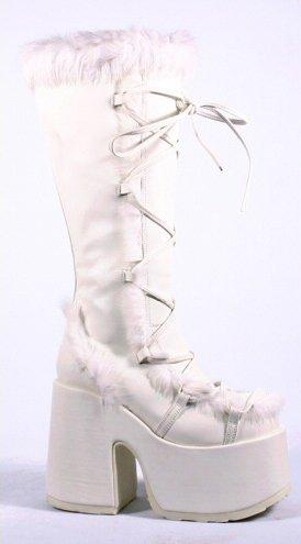 Suede Like Platform Knee High Boots with Fur Trim