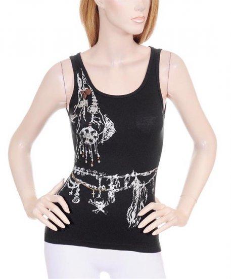 Black Punk Skull White Graphic Chain Decorative Tank