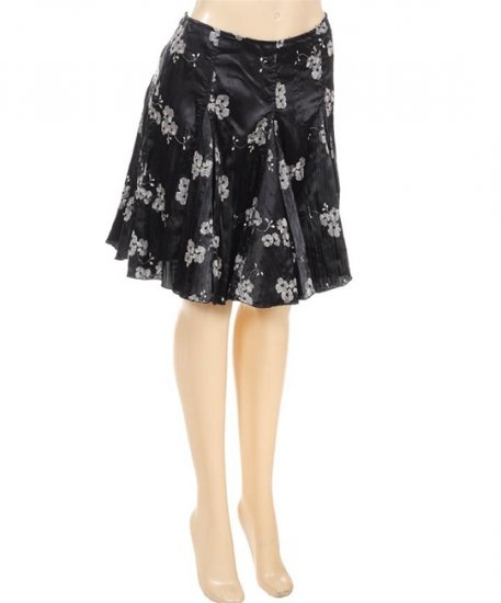 Black Silver Oriental Flower-Print Flare Skirt Goth