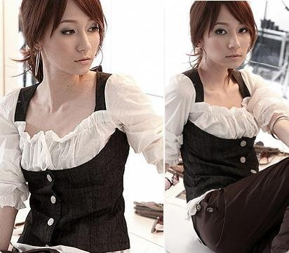 NEW Trendy Chic White Blouse Corset Cincher Top