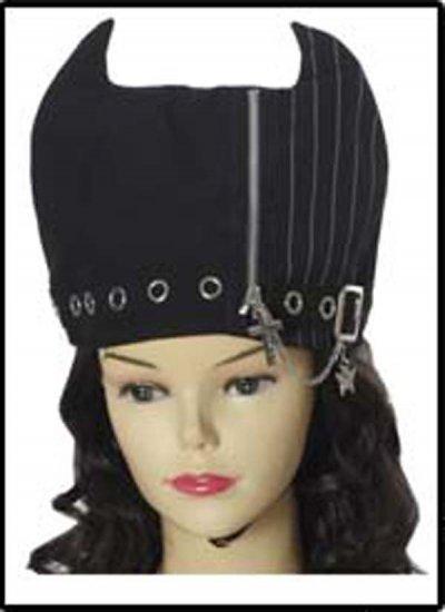 Black Chain Zipper Visual Japan Goth Punk Ear Horn Hat
