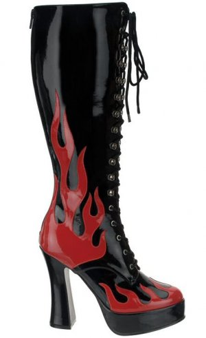 Electra Flame Design Knee High Lace Up Boot