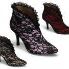 """Bordello"" Satin w/ Lace Overlay Slip-On Ankle Boot"