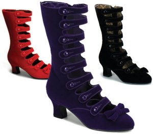 """Bordello"" Velvet Bow Steampunk Calf Boots"