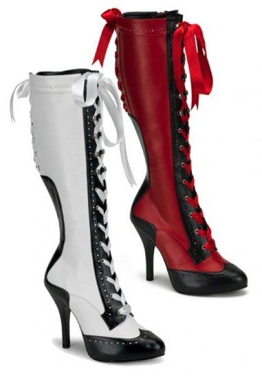 """Bordello"" Masquerade Ribbon Lace Up Two-Tone Knee Boots"