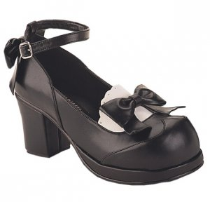 Vintage Cute Scalloped Trim Block Heel Maid Shoes