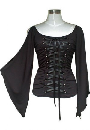 Corset-Style Lace-Up Front Wide Sleeve Blouse