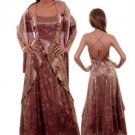 Full Length Dress Long Gown w Shawl Auburn Brown