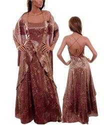 Full Length Dress Long Gown w Shawl Auburn Brown