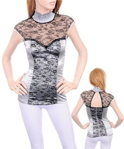 NEW Elegant Victorian Lace Shirt in Silver