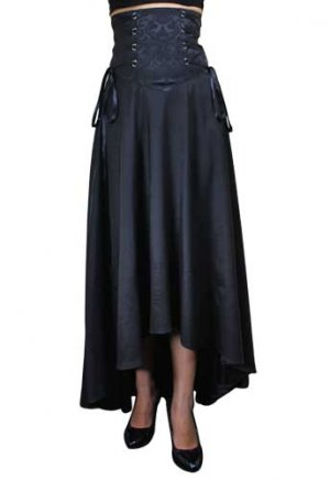 Black Flowing Corset-Laced Waist Skirt
