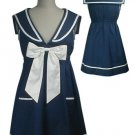 NEW Navy Blue Vintage Sailor Bow Mini Dress Tunic