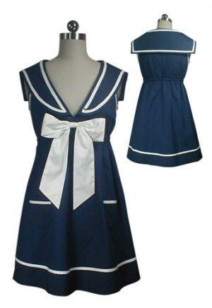 NEW Navy Blue Vintage Sailor Bow Mini Dress Tunic