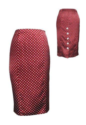 Red Sexy Polka Dot High-Waist Pencil Skirt