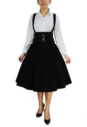 Black Velveteen Underbust Jumper Skirt