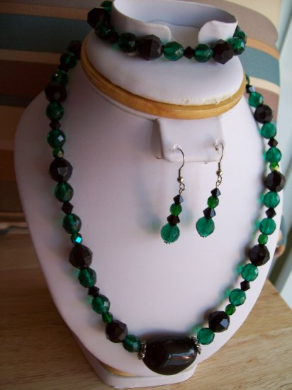 Green & Black Crystals-Plastic Beads w/ Bracelet and Earrings - Hand Made
